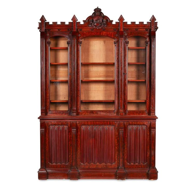 EARLY VICTORIAN MAHOGANY GOTHIC REVIVAL LIBRARY BOOKCASE CIRCA 1840 183cm wide, 259cm high, 43cm deep