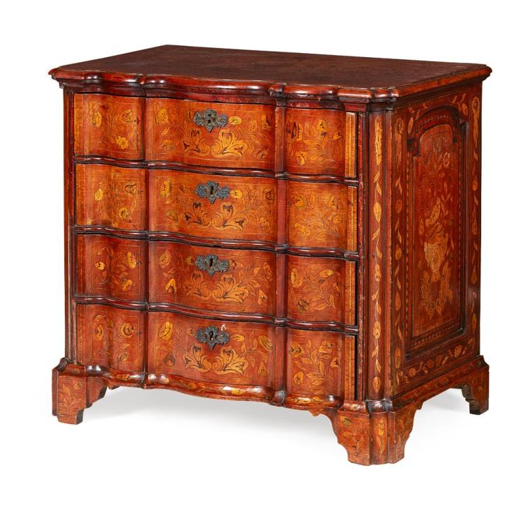 DUTCH MARQUETRY INLAID WALNUT CHEST OF DRAWERS 18TH CENTURY 91cm wide, 83cm high, 57cm deep