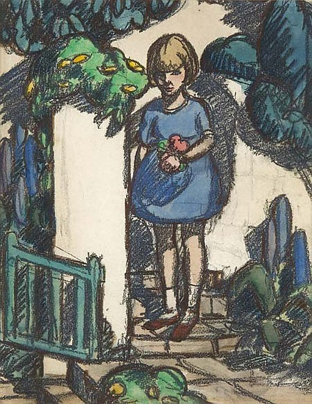 MARGARET MORRIS (1890-1980) GATHERING APPLES 28cm x 22cm (11in x 8.75cm)