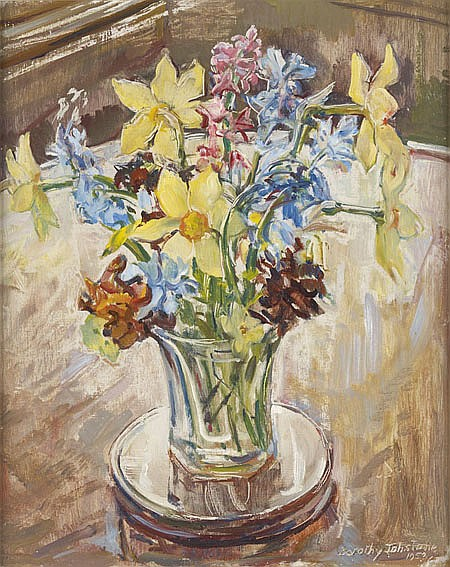 DOROTHY JOHNSTONE A.R.S.A (1892-1980) A STILL LIFE OF SPRING FLOWERS 41cm x 33cm (16in x13in)