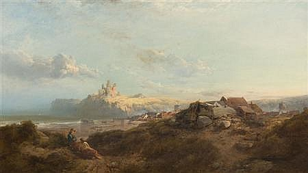 HENRY BRIGHT (1814-1873) DUNSTANBURGH CASTLE, NORTHUMBERLAND 77cm x 135cm (30in x 53in)