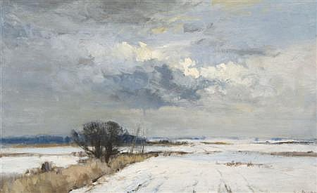 IAN HOUSTON (B.1934) 'CLOUD SHADOWS ON THE SNOW' 56cm x 91cm (26in x 36in)
