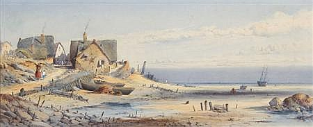 GEORGE JAMES KNOX (1810-1897) A JETTY IN WINTER 19cm x 46cm (7.5in x 18in),and a companion, a pair, 'Fishermans Cottages, Galway Bay...