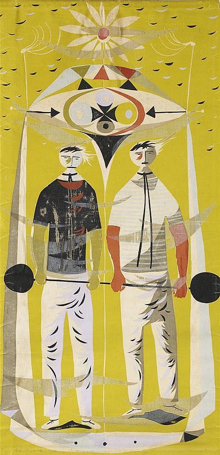 ROBERT STEWART (1924-1995) WEIGHTLIFTERS, CIRCA 1950 110cm x 55.5cm