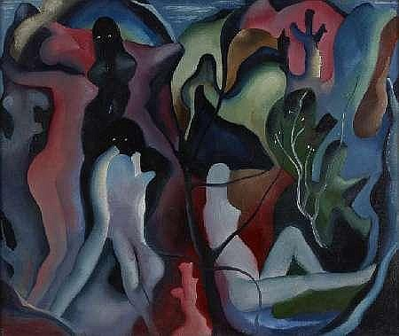 WILLIAM JOHNSTONE O.B.E (1897-1981) GARDEN OF THE HESPERIDES (NOCTURNE) 63cm x 75cm (25in x 29in)