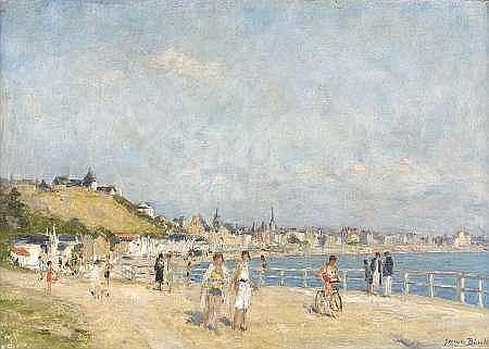 GEORGES BINET (1865-1949) ON THE PROMENADE, LE HAVRE 46cm x 63cm (18in x 25in)