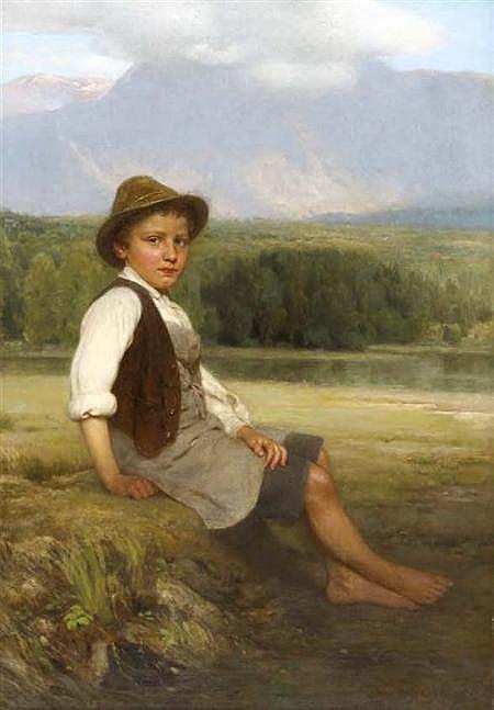 JOHAN FRIEDRICH ENGEL (1844-1921) THE YOUNG FARMHAND 68cm x 49cm (26.75in x 19.25in)