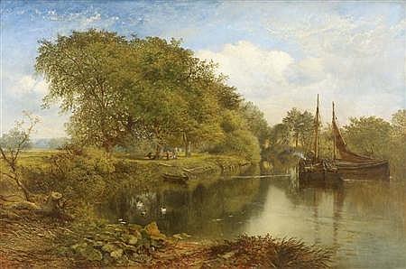 JOHN MILNE DONALD (1819-1866) ON THE KELVIN 84cm x 127cm (33in x 50in)