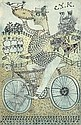 JOHN MAXWELL R.S.A (1905-1962) COMIC FIGURE WITH A BICYCLE 14cm x 9cm (5.5in x 3.5in), John Maxwell, Click for value