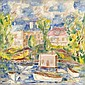 DONALD BAIN (1904-1979) PINK HOUSE BOAT 76cm x 76cm (30in x 30in), Donald (1904) Bain, Click for value