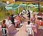 JOHN CUNNINGHAM R.G.I. (SCOTTISH 1926-1998) CAFE SCENE 66cm x 76cm (26in x 30in)