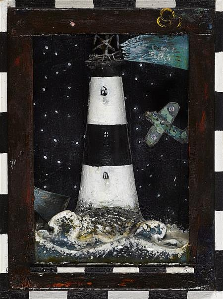 § GARY ANDERSON R.S.W. (SCOTTISH B.1960) THE LIGHTHOUSE 23cm x 17cm (9in x 6.75in)