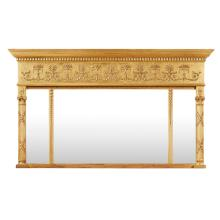 LATE GEORGE III GILTWOOD TRIPLE PLATE OVERMANTEL MIRROR EARLY 19TH CENTURY 89cm high, 152cm wide