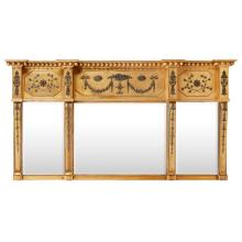 LARGE REGENCY GILTWOOD AND EBONISED TRIPLE PLATE OVERMANTEL MIRROR EARLY 19TH CENTURY 99cm high, 187cm wide