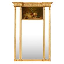 GEORGE III GILTWOOD AND PAINTED PIER MIRROR LATE 18TH CENTURY 105cm high, 74cm wide