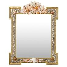 LARGE SHELL ENCRUSTED AND GILT MIRROR CIRCA 1970 145cm high, 111cm wide