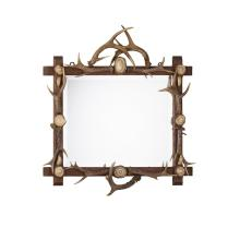 BLACK FOREST ANTLER MOUNTED MIRROR LATE 19TH CENTURY 68cm high, 62cm wide