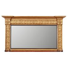 REGENCY GILTWOOD AND GESSO OVERMANTEL MIRROR EARLY 19TH CENTURY 83cm high, 151cm wide