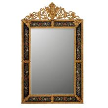 FRENCH REGENCE STYLE GILT METAL AND ENAMELLED GLASS PIER MIRROR 19TH CENTURY 137cm high, 84cm wide