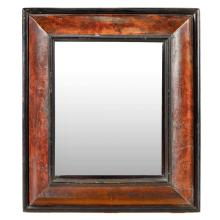 WILLIAM AND MARY WALNUT AND EBONISED MIRROR 17TH CENTURY 66cm high, 57cm wide