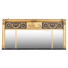 REGENCY EBONISED AND GILTWOOD TRIPLE OVERMANTEL MIRROR EARLY 19TH CENTURY 82cm high, 164cm wide