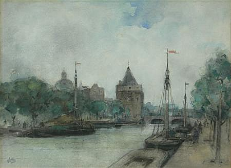 JAMES LITTLE (SCOTTISH FL.1875-1910) CANAL SCENE WITH BARGES 25.5cm x 33cm (10in x 13in)