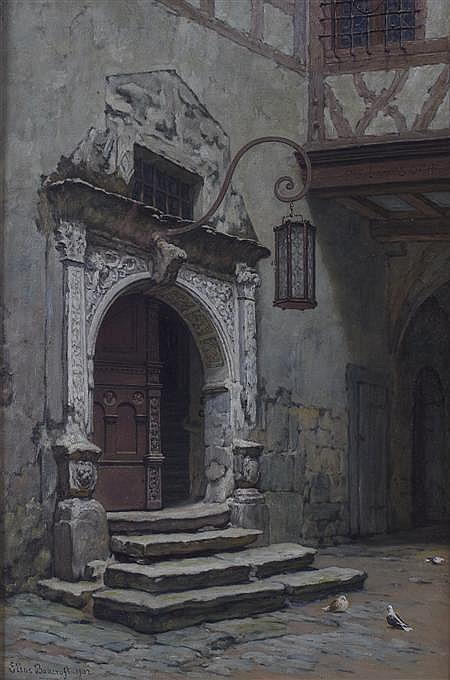 ELIAS MOLLINEAUX BANCROFT (BRITISH 1846-1924) THE ORIGINAL ENTRANCE TO THE TOWN HALL , ROTHENBURG 58cm x 41cm (22.75in x 16in)