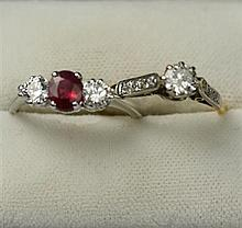 A ruby and diamond set ring Ring sizes: L, M