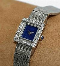 A 9ct white gold and diamond set wrist lady's cocktail wrist watch Width of face: 9mm, 35g all in