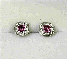 A pair of pink sapphire and diamond set ear-studs