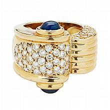 A sapphire and diamond set cocktail ring Ring size: M/N