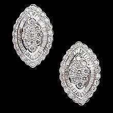 A pair of diamond set earrings Length: 35mm