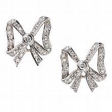 A pair of diamond set earrings Width: 18mm