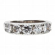 A seven stone diamond ring Ring size: O, estimated total diamond weight: 1.79cts