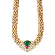 A multi-gem set necklace Length: 42.5cm