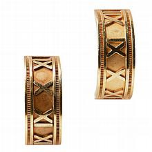 A pair of Tiffany style gold earrings Length: 25mm