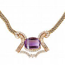 An amethyst and diamond necklace Overall length: 42cm