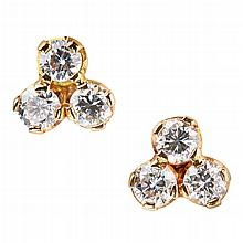 A pair of diamond cluster earrings Estimated total diamond weight: 1.20cts