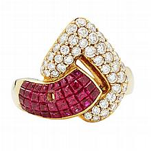 A ruby and diamond set cocktail ring Ring size: O