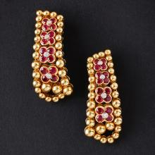 MOUAWAD - A pair of ruby and diamond set pendant earrings Length: 45mm