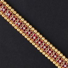 MOUAWAD - A ruby and diamond set bracelet Length: 18cm