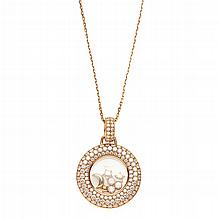 CHOPARD - A ''Happy Diamonds'' pendant necklace Length of pendant: 35mm