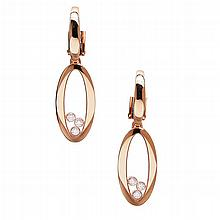CHOPARD - A pair of 'Happy Diamond' pendant earrings Length: 37mm, estimated total diamond weight: 0.30cts