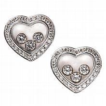 CHOPARD - A pair of ''Happy Diamonds'' earrings Width: 14mm