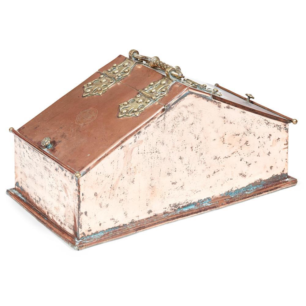 A.W.N. PUGIN (1812-1852) OR E.W. PUGIN (1834-1875) FOR THE NEW PALACE OF WESTMINSTER RARE GOTHIC REVIVAL COAL BOX, BY BENHAM & FROUD, LONDON, CIRCA 1855