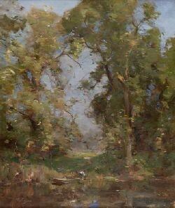 WILLIAM MILLER FRAZER R.S.A (1864-1961) A WOODED RIVER LANDSCAPE WITH PUNT 61cm x 51cm (24in x 20in)