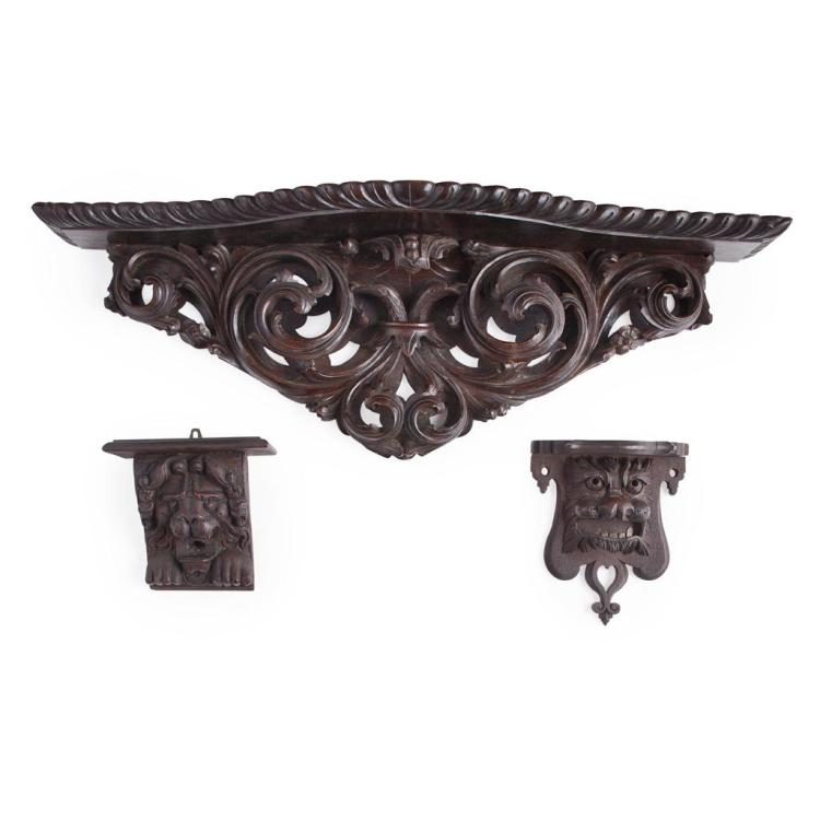 Five baroque style carved wood wall mounts late 19th early for Baroque style home accessories