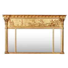 REGENCY GILTWOOD TRIPLE OVERMANTEL MIRROR 19TH CENTURY 91cm high, 149cm wide