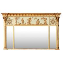 REGENCY GILTWOOD AND PAINTED OVERMANTEL MIRROR 19TH CENTURY 91cm high, 149cm long