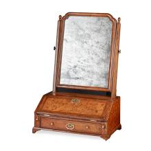 GEORGE II WALNUT TOILET MIRROR MID 18TH CENTURY 64.5cm high, 41cm wide